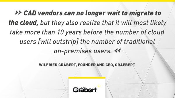 """CAD vendors can no longer wait to migrate to the cloud, but they also realize that it will most likely take more than 10 years before the number of cloud users [will outstrip] the number of traditional on-premises users."" — Wilfried Graebert, founder and CEO, Graebert"